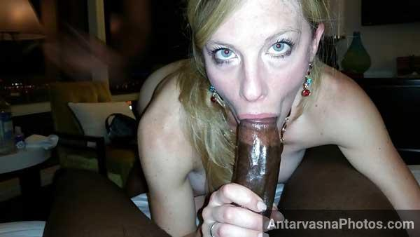 Horny British boss Anna ke muh me African lund - Blowjob photos