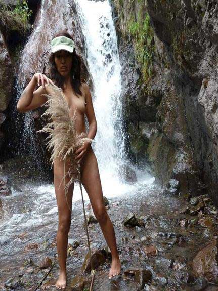 Naked photos of wife by stream