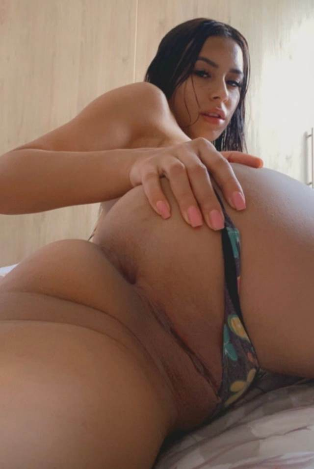 hot babe sliding her panty to show her pussy