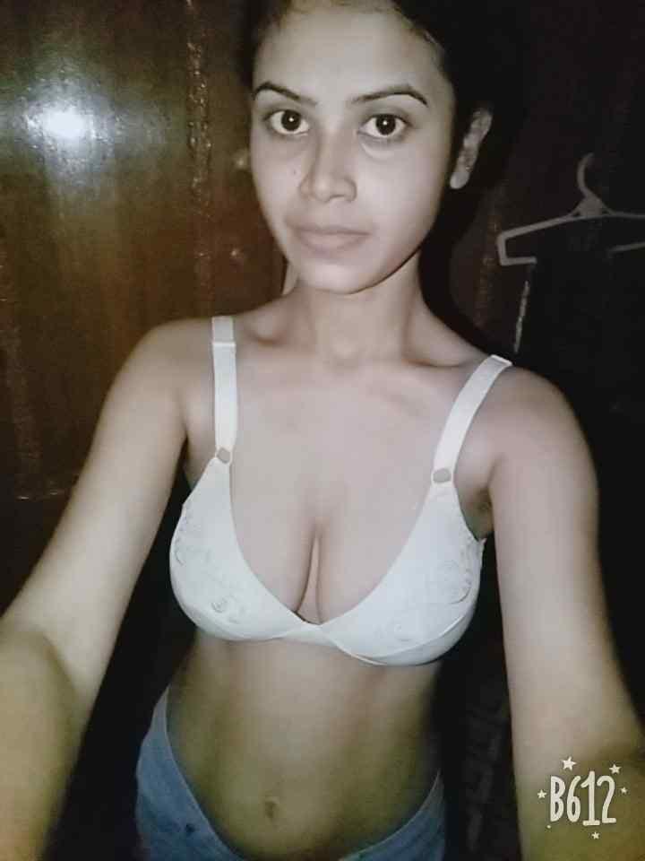 white bra big boobs village selfie